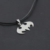 2014 Hot Fashion Jewelry Slippy Bat Batman Sign Pendant 316L Stainless Steel Necklaces leather chain Mens Necklaces = 1928023812
