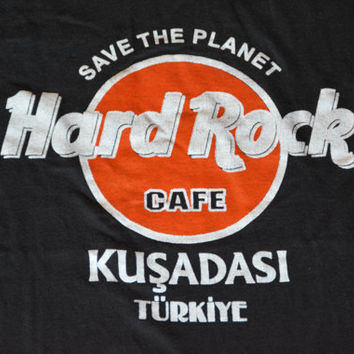 Vintage Black Hard Rock Cafe Turkey Cotton T-Shirt -  Save The Planet Retro Tee