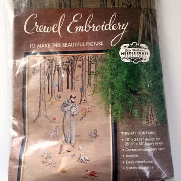Vintage Elsa Williams Needlecraft Crewel Embroidery Kit Saint Francis of Assisi Animals Nature Religious KC628 New in Package