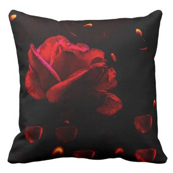 A rose by candle light, cotton throw pillow