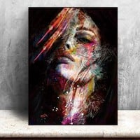 Abstract Wall Art Picture Canvas Print colorful woman home decor  Wall Decor