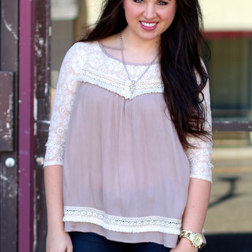 Lace Babydoll Top {Latte}