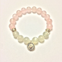 Love Bracelet ~ Genuine Rose Quartz & Grey Moonstone Bracelet w/ Sterling Silver Large Heart Spacers and Heart Charm ~