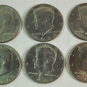 Lot Set of 6 Kennedy Coins, 1970s and 1980s coins, 1971 1974 1976 Bicentennial 1980, 1981, 1983 JFK Silver Half Dollars Circulated