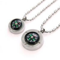 "JewelryWe 2pcs of Fashion Stainless Steel ""Love"" Couple's Compass Pendant Necklaces in Gift Bag (Lover's Gift, One Pair)"