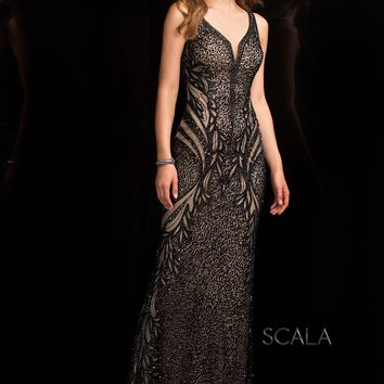 Scala 48721 Fiery Floor-Length Sequin Column Dress