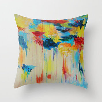 VANCOUVER RAIN - Stunning Rainbow Colorful Bold bright Rain Clouds Stormy Day Wow Abstract Painting Throw Pillow by EbiEmporium | Society6