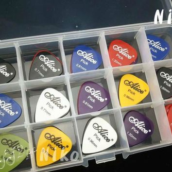 Lots of 200pcs Alice Acoustic Electric Guitar Picks Bass Plectrums+1 Large Plastic Picks Box Case Free Shipping