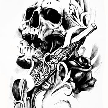 Large Pirate Skull Rose Temporary Tattoo