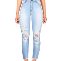 Frayed and Scuffed High Waist Ankle Skinnys