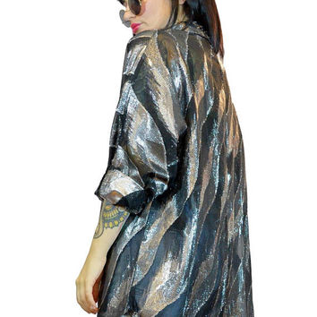 vintage 1990s paper thin metallic shirt oversized sheer duster jacket foil mesh cyber grunge industrial batwing oversized grunge Large
