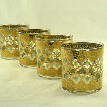 Culver Valencia Low Ball Old Fashioned Glasses - Cocktail Set of 4 - Green Diamond - 22K Gold - Vintage MCM Mad Men