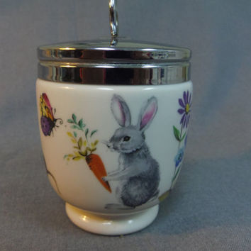 Egg Coddler, Royal Worcester King Double Size, A Skippety Tale Hedgehog, Bunny, Insects Flowers