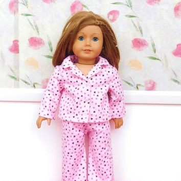 18 Inch Doll Clothes, Pink Doll Pajamas with Hearts, Flannel Doll Pajamas, Doll Pyjamas, Winter Doll Clothes, Fits American Girl Dolls