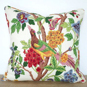 Tropical pillow cover 18x18, flower pillow with piping, floral couch pillow tropical style, green and red sofa pillow case island decor