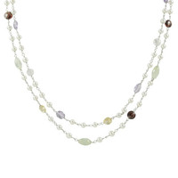 "17.5"" Sterling Silver Double Strand White Freshwater Pearl with Multi-Color Gem Necklace1."" Extender"