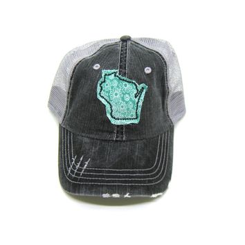 Wisconsin Trucker Trucker Hat - Distressed - Floral Fabric State Cutout