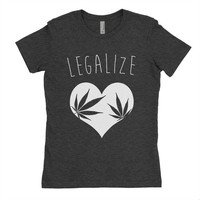 Legalize Tri Black T Shirt - Graphic Tee - Clothing - Gift - stoner - 420 - weed leaf -heart