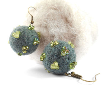 Green Felt Earrings Glass Bead Embroidered Needle Felted Earrings Beaded Wool Felt Jewelry Basil Green Pine
