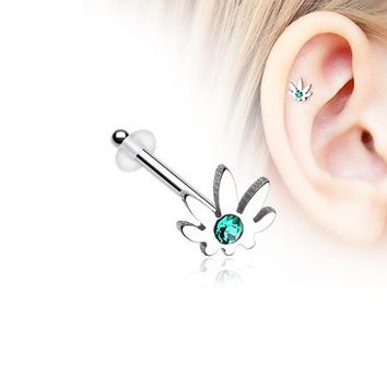 Classic Cannabis Sparkle Piercing Stud with O-Rings