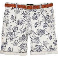 River Island MensEcru floral print rolled up shorts
