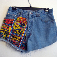 captain america High  Waisted Shorts 31 inch by wildblacksheep