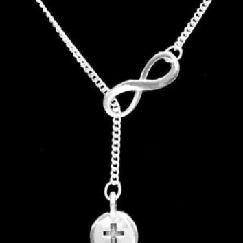 Infinity Cross Charm Christian Gift God Faith Religious Lariat Necklace