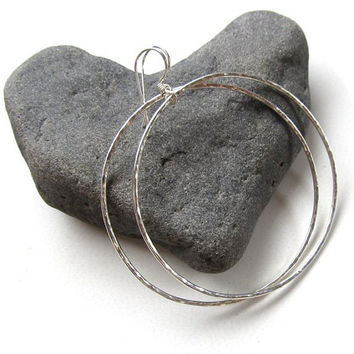 Big Hoop Earrings, Sterling Silver, Hammered, Simple Hoops, Handmade, Gift for Her