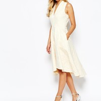 Closet High Neck Skater Dress In Jacquard