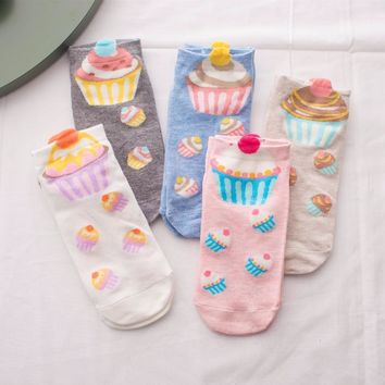 Adult Size Cupcake No-shown Ankle Socks Two Pieces Broke Girl Fairy Patty Cup Cake Bun Dessert Pinky Cream Milk Cartoon NADROP