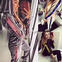 Off-white new long-sleeved hoodie hoodie sports suit for women's casual two-piece
