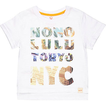 River Island Mini boys white city print t-shirt