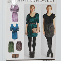 Simplicity 2305 Cynthia Rowley Pattern (c.2010) Misses' Sizes 4-12 For Dresses, Skirts And A Purse, Business, Evening Out, Clutch Purse, Hip