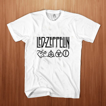Led Zeppelin shirt men  Hard Rock  t-shirt Heavy Metal  tee meth Rock tee Stump white