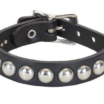 1-Row Silver Round Stud Quality Black Leather Wristband Cuff
