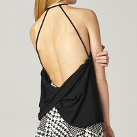 BLACK TWISTED BACKLESS TOP