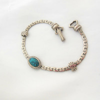 Goldette Southwest Bracelet Silver Chain and Turquoise