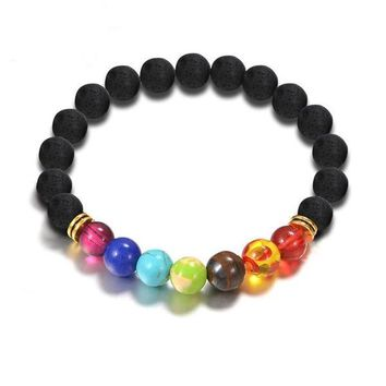 Dazzle Chakra Black Natural Lave Stone Beads Yoga Bracelets for Women by Ritzy