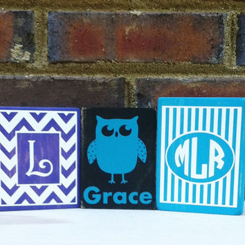 Stripes With Monogram  Distressed Mini Wood Sign  Nursery decor Baby Shower or Birthday Gift