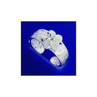 SILVER 925 8MM HAWAIIAN CUT OUT PLUMERIA FLOWER SCROLL TOE RING CZ