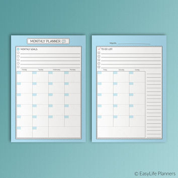 Month On Two Pages A5 Printable Filofax Inserts Monthly Planner Blue Refills Undated Academic Planner Monday Start Instant Download PDF