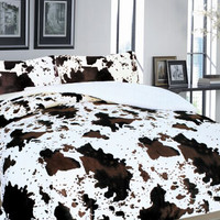 3 Piece Western Rodeo Cowhide Print Design Borrego Fleece Comforter Style Set - OffWhite