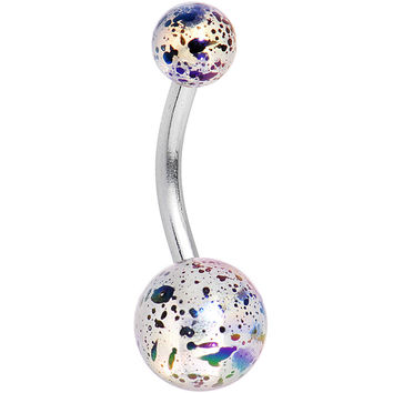 Clear Acrylic Big Bottom Ball Color Splash Basic Belly Ring