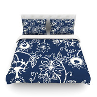 "Laura Nicholson ""Passion Flower"" Navy Floral Featherweight Duvet Cover"