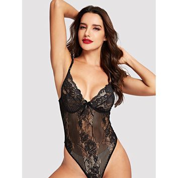 Plus Size Black Floral Lace And Mesh Teddy