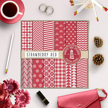 Red Digital Paper Red Patterns 12x12 Red Scrapbook Paper Commercial Use Red Chevron Red Polka Dots Red Gingham Red Hearts Red Backgrounds