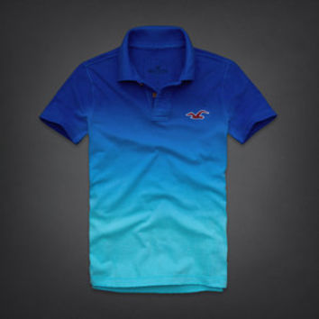 NWT Hollister Men's Polo Shirt Hobson Sizes S M L XL Blue Ombre Retail $89!