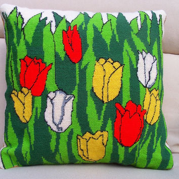 Needlepoint Pillow, Red and Yellow Tulips