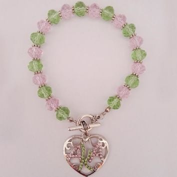 Greek AKA  Sorority  crystal pink green  heart  charm bracelet bangle   available custom bracelet Jewelry