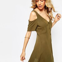 ASOS Swing Dress with Button Front and Cold Shoulder